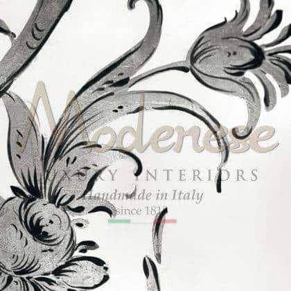 détails de peinture décorative armoires haut décoratif fait à la main en bois massif sur mesure production de meubles italiens décoration de la maison classique beau made in Italy tissus royaux meubles sur mesure design exclusif mode de vie de luxe