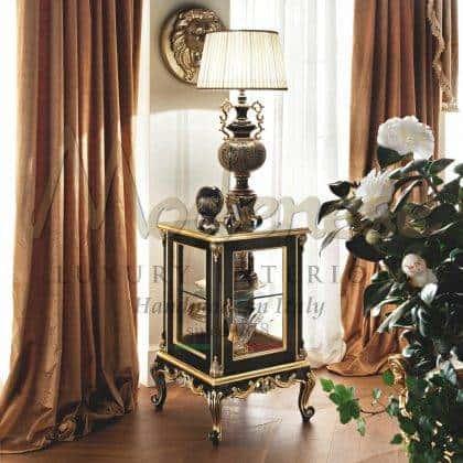 lampe d'armoire noire classique de luxe meubles fabriqués à la main sculptures à la main élégants détails de feuille d'or fabrication de meubles italiens classiques de qualité supérieure matériaux en bois massif style de vie de luxe idées d'ameublement élégantes belle armoire coûteuse palais royal meubles de salon traditionnels en bois massif