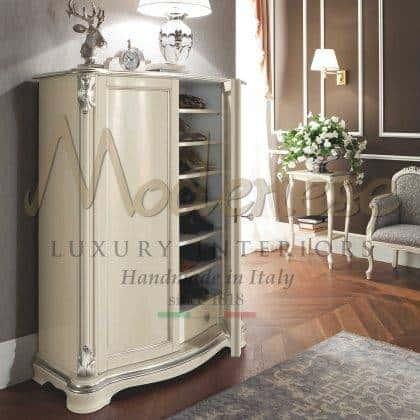 luxe élégant italien version d'armoires en ivoire tissus fous personnalisés finitions avec des détails de feuille d'argent fabrication de meubles italiens classiques de qualité supérieure matériaux en bois massif style de vie de luxe élégant ameublement collection riche d'armoires