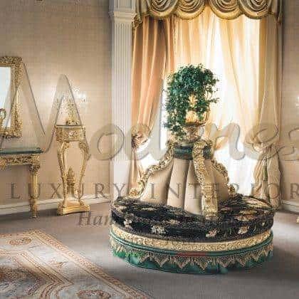 Уникальный дизайн круглого дивана сделанный на заказ полная кастомизация дизайнерское решение интерьеров итальянский стиль роскошные интерьеры в классическом стиле итальянские эксклюзивные ткани на заказ эксклюзивный дизайн