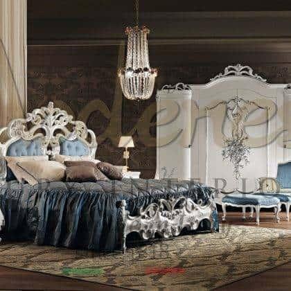 tête de lit en bois massif opulent exclusif finition laquée ivoire détails de feuille d'argent matériaux raffinés de luxe qualité fabriquée en italie fabrication design baroque vénitien mobilier de maison de palais sculpté à la main mobilier de villa royale de style vénitien