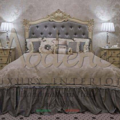 têtes de lit sculptées sophistiquées meubles en bois massif de style vénitien fait à la main pour des détails exclusifs de feuille d'or vénitien finition chambre élégante détails de production intérieurs faits à la main vénitiens meubles de style italien palais meubles de villa royale projets exclusifs de style vénitien fabriqués sur mesure en italie bois massif