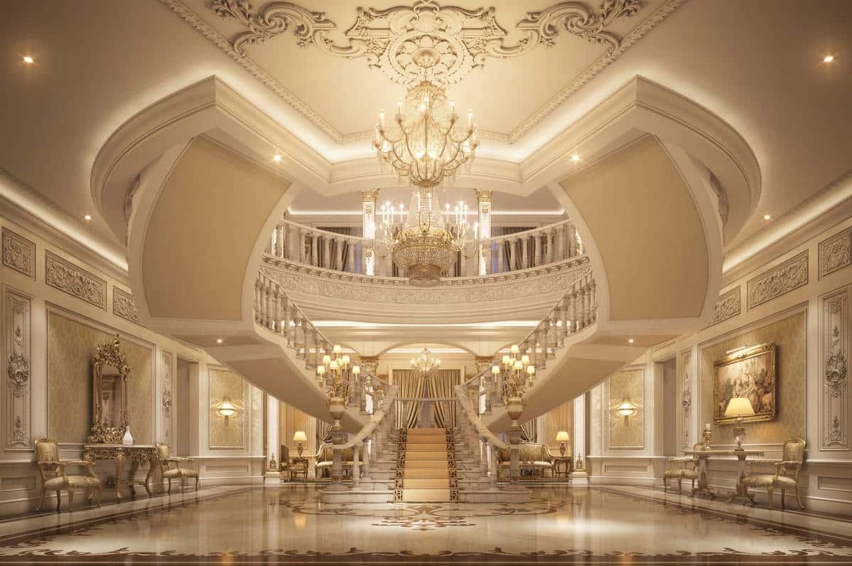 элегантный роскошный классический дизайн интерьера элитных апартаментов пентхауса итальянская роскошь высокое качество уникальный дизайн проект