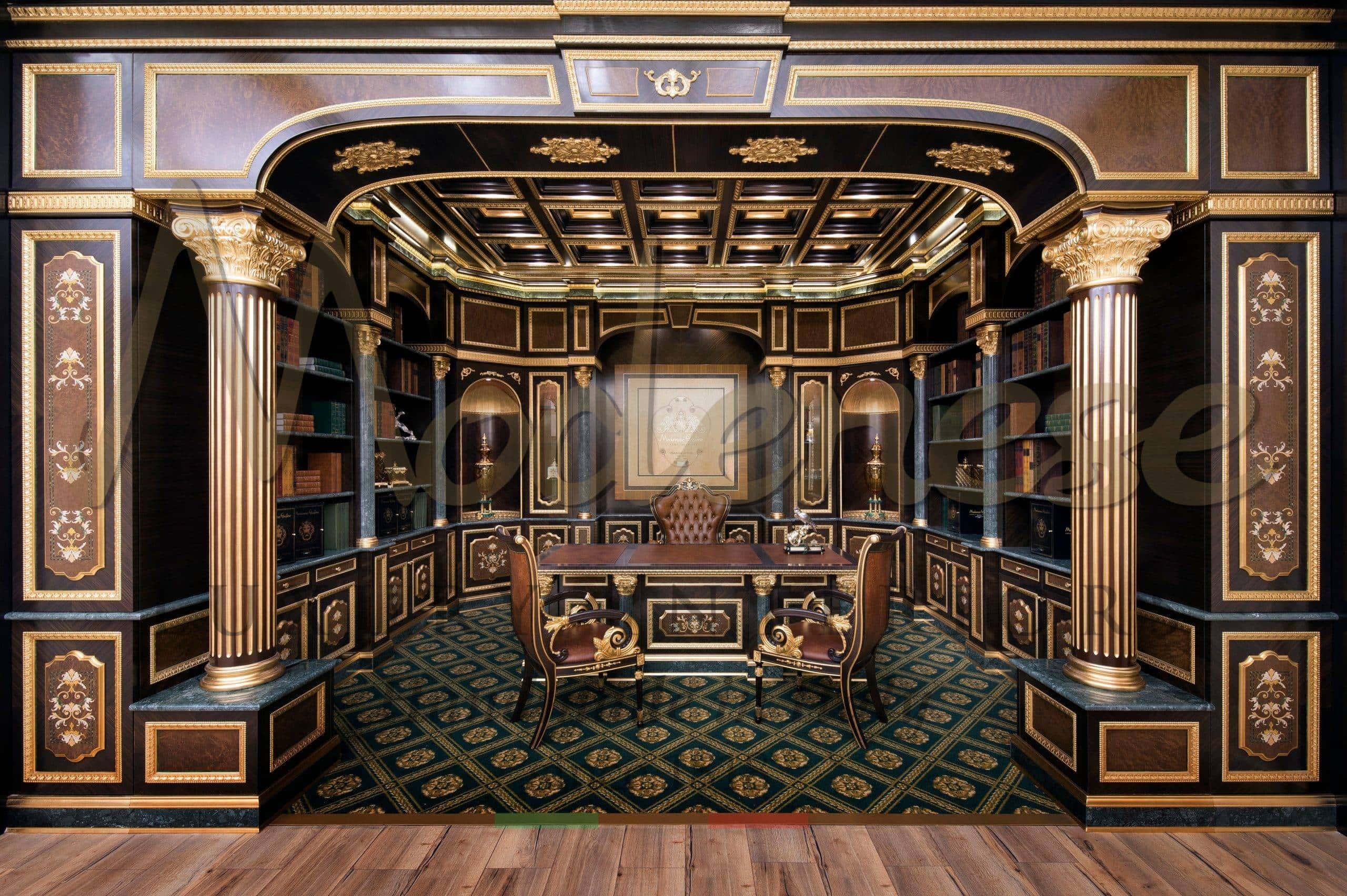дизайн проект роскошных люксовых личных кабинетов классический итальянский роскошный офис дизайнерский кабинет на заказ дизайн проект роскошного личного кабинета идеи дизайна офиса