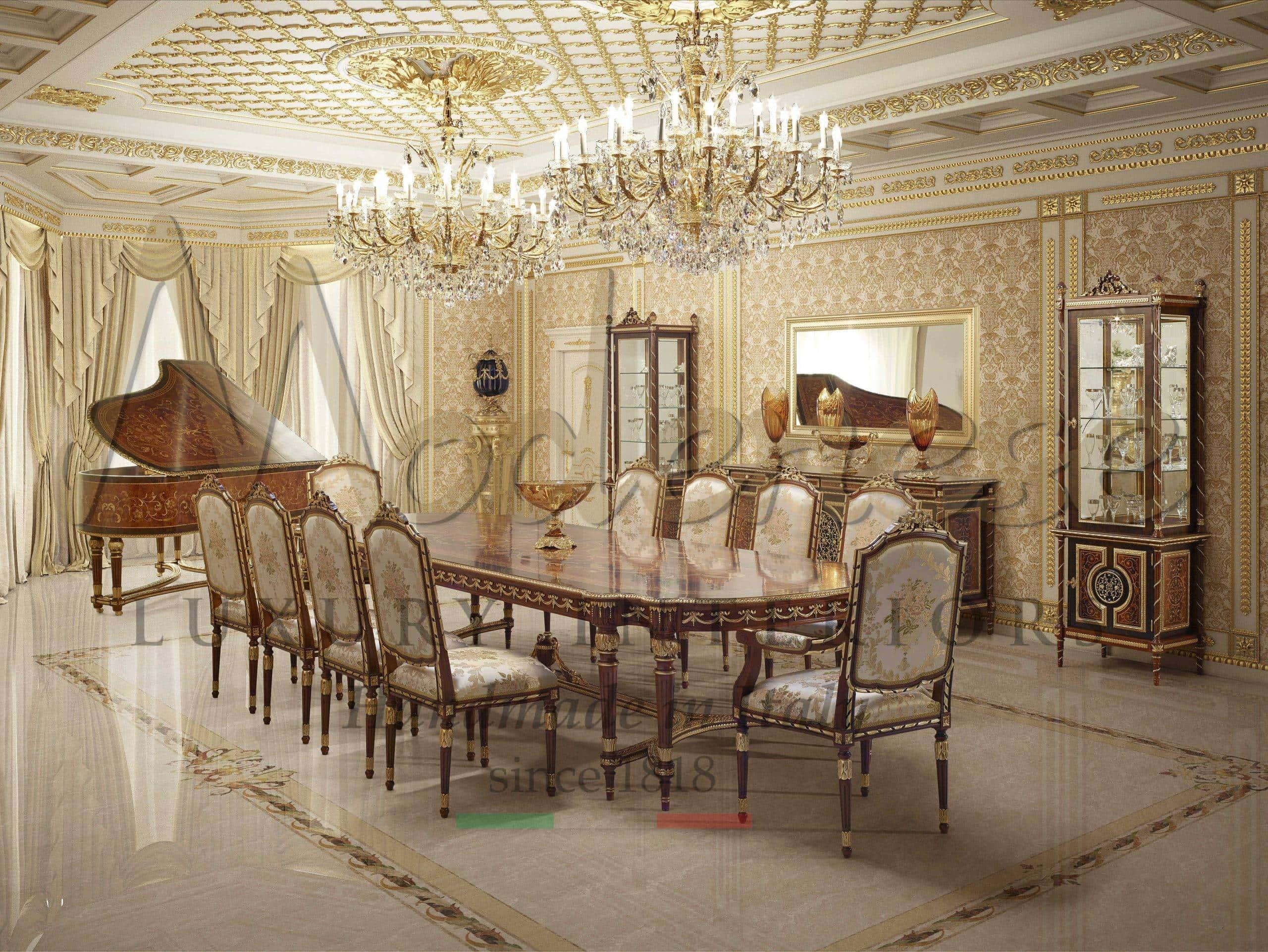 Classic Italian Luxury Dining Room Furniture Traditional Luxury Home Decor Furnishings Custom Made Top Quality Furniture Modenese