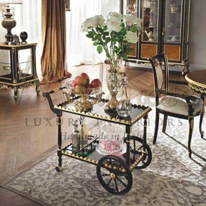 meubles de chariot de thé de style classique de luxe fabriqués à la main finition laquée meubles de luxe italiens en bois massif meilleurs matériaux de qualité personnalisés ameublement de décoration de maison élégante salle à manger idées de meubles classiques palais royal