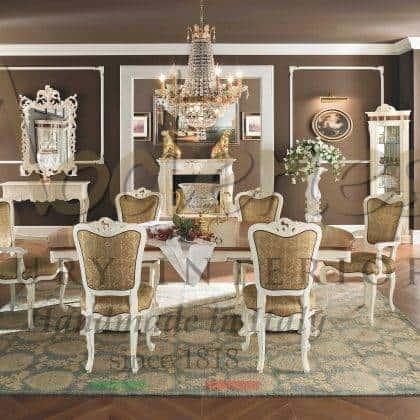 table à manger de luxe qualité haut de gamme raffinée fabriquée en Italie à la main style baroque vénitien classique exclusif fait à la main production d'intérieurs artisanaux majestueuse salle à manger table à manger raffinée sur mesure bois massif fabrication artisanale exclusive