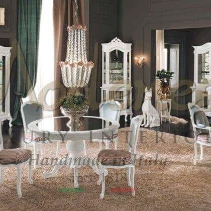 table à manger ronde vénitienne classique élégantes chaises de conception italienne personnalisables vitrines sur mesure armoires majestueuses décoration de la maison royale meubles en bois massif de style baroque rococo faits à la main en Italie ameublement exclusif de design d'intérieur