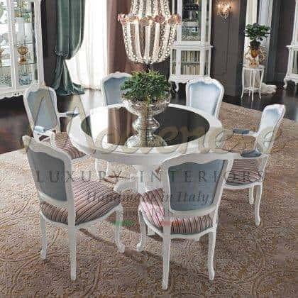 qualité haut de gamme made in Italy table à manger en bois forme ronde sur mesure dimensions de finition personnalisables style unique salle à manger palace collection de meubles haut meilleurs intérieurs baroques ameublement idées de meubles élégants