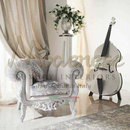 fauteuils sculptés artisanaux de qualité supérieure fabrication de la meilleure qualité made in Italy meubles fabriqués à la main finition laquée blanche élégante idées de fauteuils de salon majestueux fauteuils victoriens vénitiens traditionnels baroques vénitiens raffinés fabriqués en Italie meilleurs intérieurs en bois massif de qualité meubles décoratifs pour les projets d'ameublement élégants palais royaux et villas