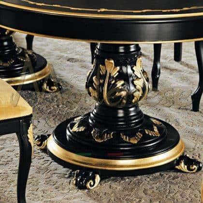 table à manger classique traditionnelle élégante de luxe classique fabriquée en Italie production de meubles artisanaux sculptures et détails sophistiqués de pieds de table en bois massif eubles exclusifs production d'intérieurs artisanaux de qualité supérieure