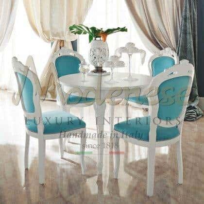 tables à manger classiques de luxe finitions de tissus personnalisables fabrication de meubles italiens classiques de qualité supérieure matériaux en bois massif mode de vie de luxe idées d'ameublement élégantes belle collection de salle à manger riche
