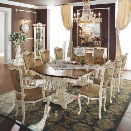 collection de meubles de salle à manger baroque meubles italiens de luxe table à manger de style classique chaises élégantes tissus précieux fabriqués en Italie décoration de la salle à manger du palais royal salon luxueux exclusif meubles de style vénitien en bois massif fabriqués à la main