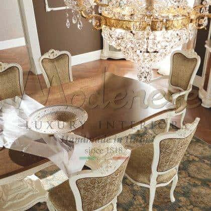 collection de meubles de salle à manger baroque meubles italiens de luxe table à manger de style classique chaises élégantes tissus précieux fabriqués en Italie décoration de la salle à manger du palais royal salon luxueux exclusif meubles sur mesure de style vénitien en bois massif fabriqués à la main
