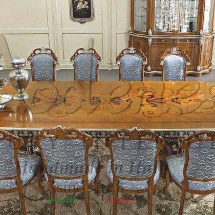 table à manger incrustée à la main exclusive élégant détails collection de meubles de salle à manger sur mesure de luxe italien production artisanal des ameublements traditionnel de qualité haut de gamme design opulent