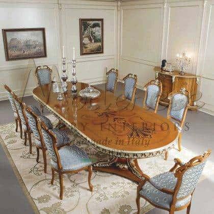 table à manger haut de gamme incrustée à la main exclusif détail élégant collection de meubles de salle à manger sur mesure luxe italien fabrication artisanale ameublement traditionnel de haute qualité design opulent villa royale chaises intemporelles fabriqués en Italie tissus précieux