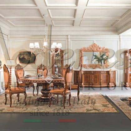 table à manger ronde de style baroque exclusif classique élégantes chaises de conception italienne personnalisables vitrines sur mesure armoires majestueuses décoration de la maison royale meubles en bois massif de style baroque rococo faits à la main en Italie ameublement exclusif de design d'intérieur