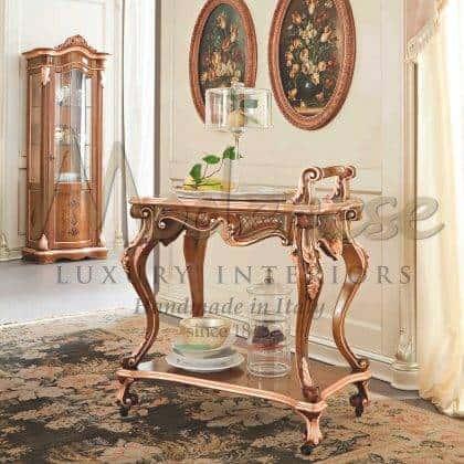 meubles de chariot à thé de style classique de luxe fabriqués à la main finition sur mesure meubles de luxe italiens en bois massif meilleurs matériaux de qualité sur mesure ameublement de décoration de maison élégante salle à manger idées de meubles classiques palais royaux