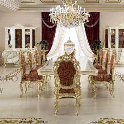 table de salle à manger baroque de meilleure qualité fabriquée à la main chaise de style classique artisanale sculptée à la main décorations de feuilles d'or majestueux buffet fabrication artisanale peintures ornementales collection de meubles de salle à manger du palais royal mobilier italien de luxe en bois massif.