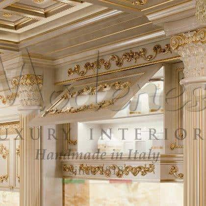 Роскошная встроенная мебель из массива дерева кухня на заказ в классическом стиле резьба по дереву ручной работы итальянское производство мебели премиум класса на заказ дизайнерская разработка деталей для элегантного интерьера виллы