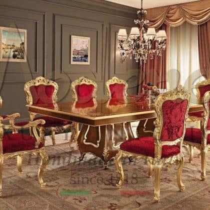 collection de meubles de salle à manger baroque victorienne meubles italiens de luxe table à manger de style classique chaises élégantes tissus précieux fabriqués en Italie décoration de la salle à manger du palais royal salon luxueux exclusif en bois massif fabriqué à la main meubles sur mesure de style vénitien
