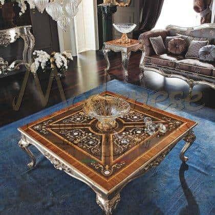 Meubles de table basse de luxe majestueux, plateau incrusté en bois de style nacre, artisanat de style magnifique fabriqué en Italie, détails de feuille d'argent