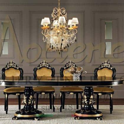 table à manger de style baroque classique finition personnalisée décoration supérieure faite à la main peinture ornementale feuille d'or meubles de salle à manger villa royale en bois massif fabriqués à la main collections italiennes
