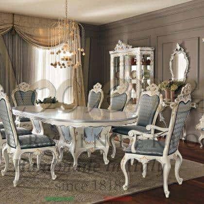 salle à manger de style baroque vénitien décoration florale beaux éléments décoratifs table à manger bespoje design classique de luxe meubles italiens palacen royal idées de vitrines de luxe classiques raffinées