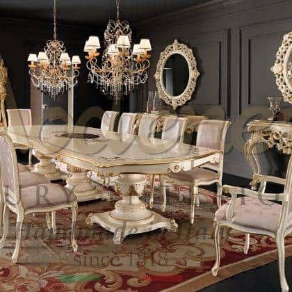 opulente salle à manger en bois massif collection de meubles classiques de luxe design intemporel finitions et tissus personnalisables console élégante sculptée miroir ornemental meubles exclusifs en bois de qualité haut de gamme
