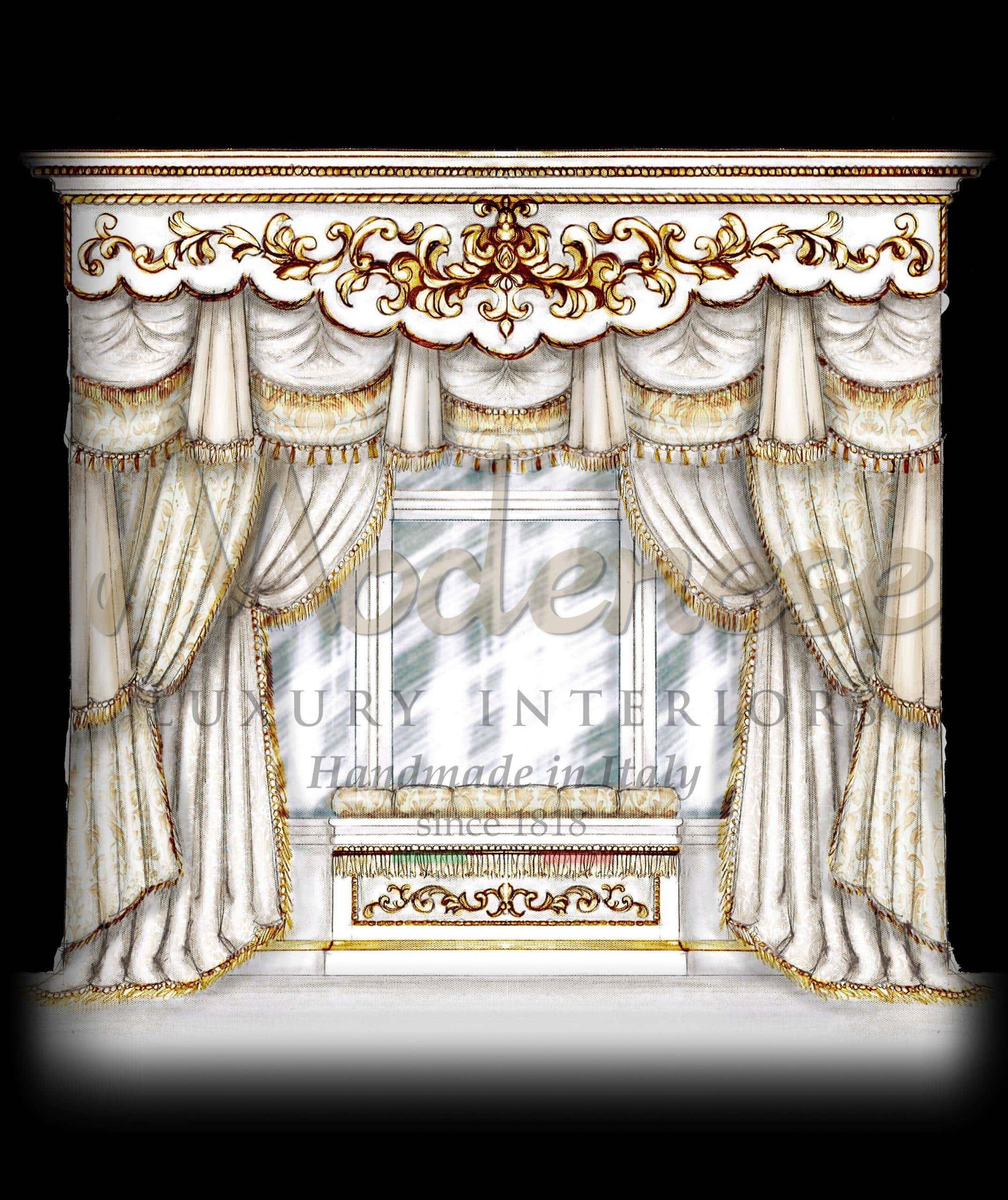 ستائر كلاسيكية مصنوعة يدويًا مصنوعة في إيطاليا رسومات عالية الجودة تفاصيل فاخرة خدمة التصميم الداخلي ديكور المنزل مشروع سكني تصميم باروكي ملكي بإنتاج الستائر الفيكتورية