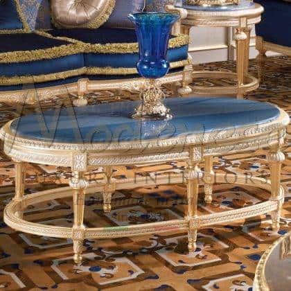 table basse majestueuse mobilier chic et de luxe beau made in Italy mobilier en marbre incrusté d'azul avec finition de feuille d'or de luxe artisanat style classique traditionnel fait sur mesure design exclusif gracieux chic détails de décoration intérieurs fabriqués à la main intérieurs artisanaux italiens