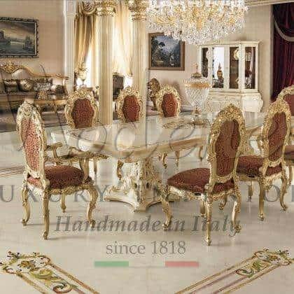 Table à manger baroque de meilleure qualité fabriquée à la main chaise de style classique artisanale sculptée à la main décorations de feuilles d'or majestueux buffet fabrication artisanale à la main peintures ornementales collection de meubles de salle à manger du palais royal meubles italiens de luxe en bois massif.