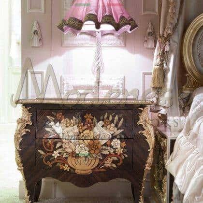 Инкрустация резьба по дереву производство ручной работы в италии 100% качество люкс роскошные прикроватные тумбочки для королевский спален в стиле барокко итальянском венецианском стиле уникальные дизайны интерьеров на заказ