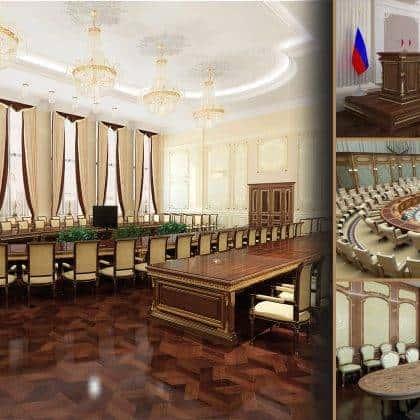 مشاريع المكاتب الحكومية السفارات مكتب الرئاسي تجهيز مخصص لإنتاج الأثاث الكلاسيكي الفاخر مشروع تصميم داخلي أنيق حصري