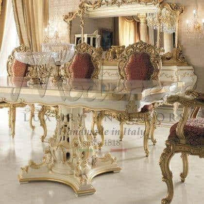 table à manger en bois massif sculpté à la main mobilier italien de luxe traditionnel baroque fabrication artisanale haut de gamme décoration de la maison baroque belle collection de salle à manger de style vénitien détails de la feuille d'or design exclusif.