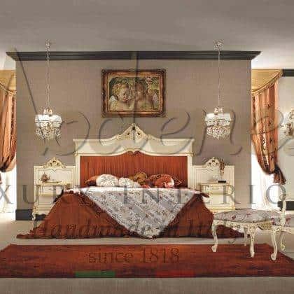 design de chambre exclusif vénitien victorien baroque classique français style fabriquè en Italie avec materieux de haute qualité sur mesureet artisanal avec un finition fait à la main meubles fabriqués en mode personalisé de luxe majestueux et unique pour un exclusif opulent élégant intemporel traditionnel bois massif finition laquée ivoire détails de feuille d'or tissus précieux italiens de luxe