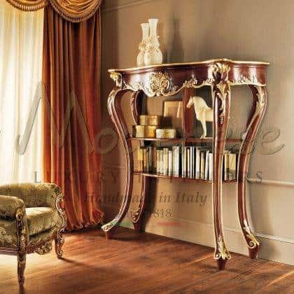 meubles fabriqués à la main sur mesure armoire à livres en bois massif vénitien traditionnel baroque fait à la main décorations supérieures ornementales incrustées élégantes exclusives fabriquées en Italie conception traditionnelle éléments décoratifs de style vénitien