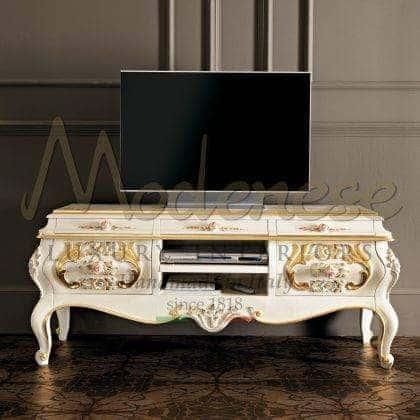 роскошные итальянские тумбы для телевизора ручной работы из массива дерева на заказ детали из золота и серебра роскошный стиль барокко классические тумбы для тв эксклюзивного итальянского дизайна высокое качество 100% сделано в италии