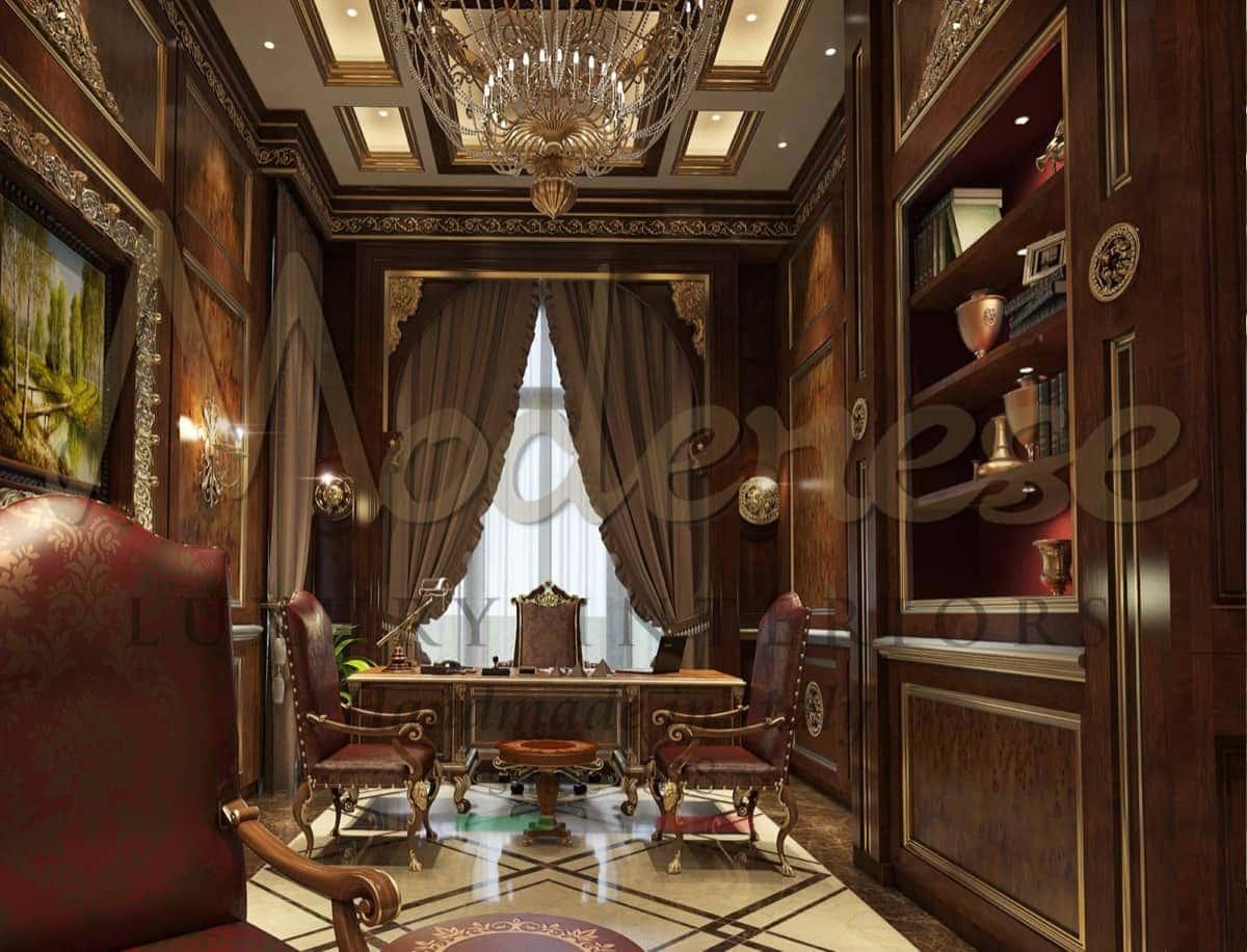 Роскошный элегантный президентский офис на заказ из Италии. Проектировка офиса с эксклюзивными идеями итальянских дизайнеров. Классическая итальянская мебель ручной работы на заказ. Представительский офис высшего качества из массива дерева на заказ.