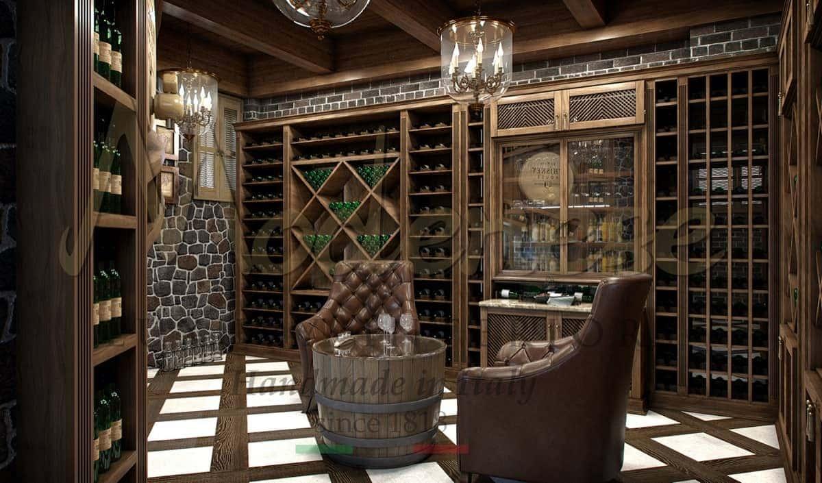 Роскошный уникальный дизайн интерьеров винного погреба. На заказ от производителя высококачественной итальянской мебели из массива дерева. Уникальный безупречный дизайн, проектировка производство и оформление от Modenese Luxury Interiors.