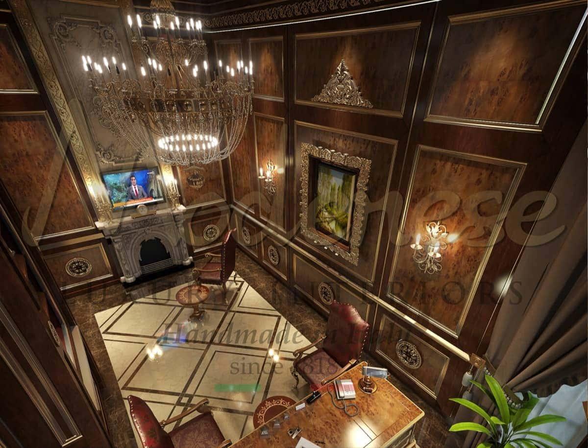Уникальный элегантный президентский личный кабинет на заказ от производителя итальянской высококачественной мебели. Проектировка офиса с эксклюзивными идеями итальянских дизайнеров. Классическая итальянская мебель ручной работы на заказ. Представительский офис высшего качества из массива дерева на заказ.