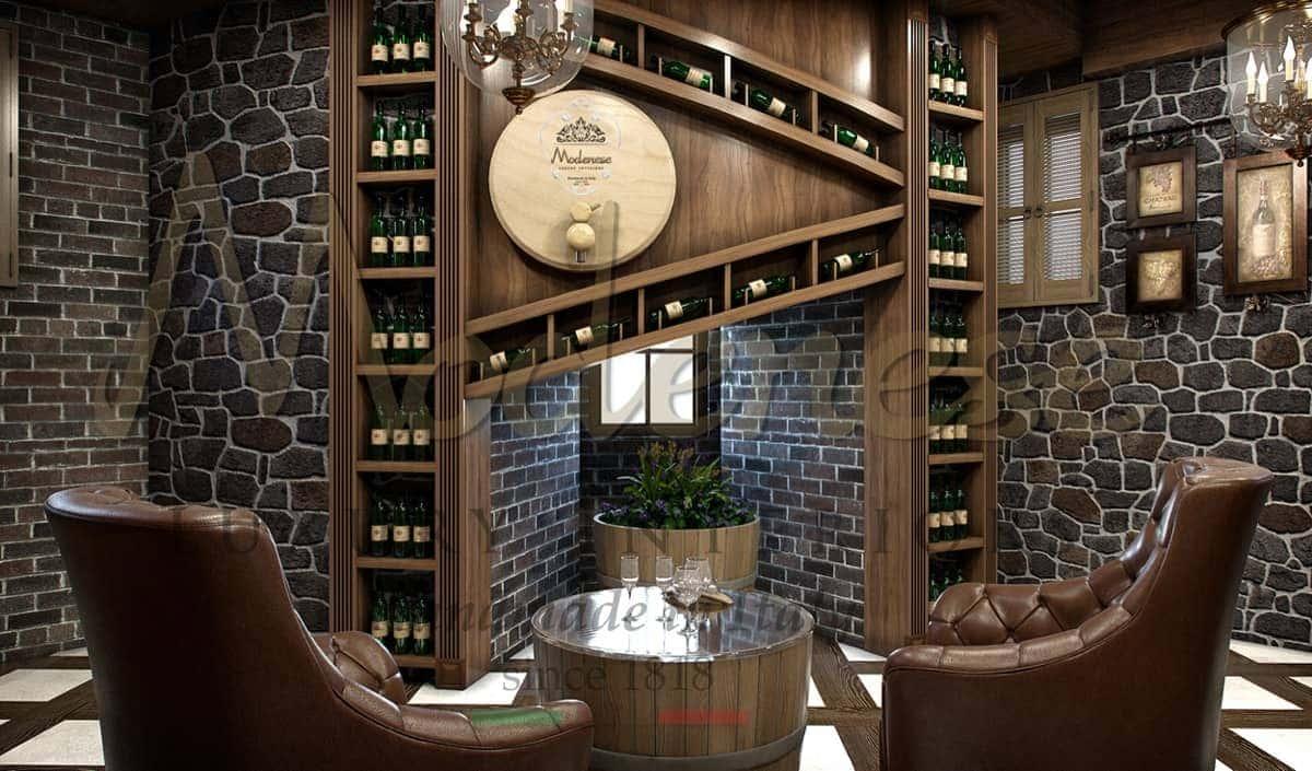Элегантный безупречный винный погреб от производителя итальянской мебели высокого качества. Традиционный итальянский стиль роскошный дизайн, большой выбор отделок, оформление и подбор аксессуаров от Modenese Luxury Interiors на заказ для проекта.