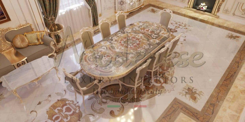 Премиальное качество, роскошные итальянские материалы, итальянские ткани, итальянский мрамор высокого качества, драгоценные камни, массив дерева, инкрустация, традиционное итальянское производство мебели ручной работы высокого качества и роскошного эксклюзивного дизайна. Проектировка дизайна интерьеров от Modenese Luxury Interiors.