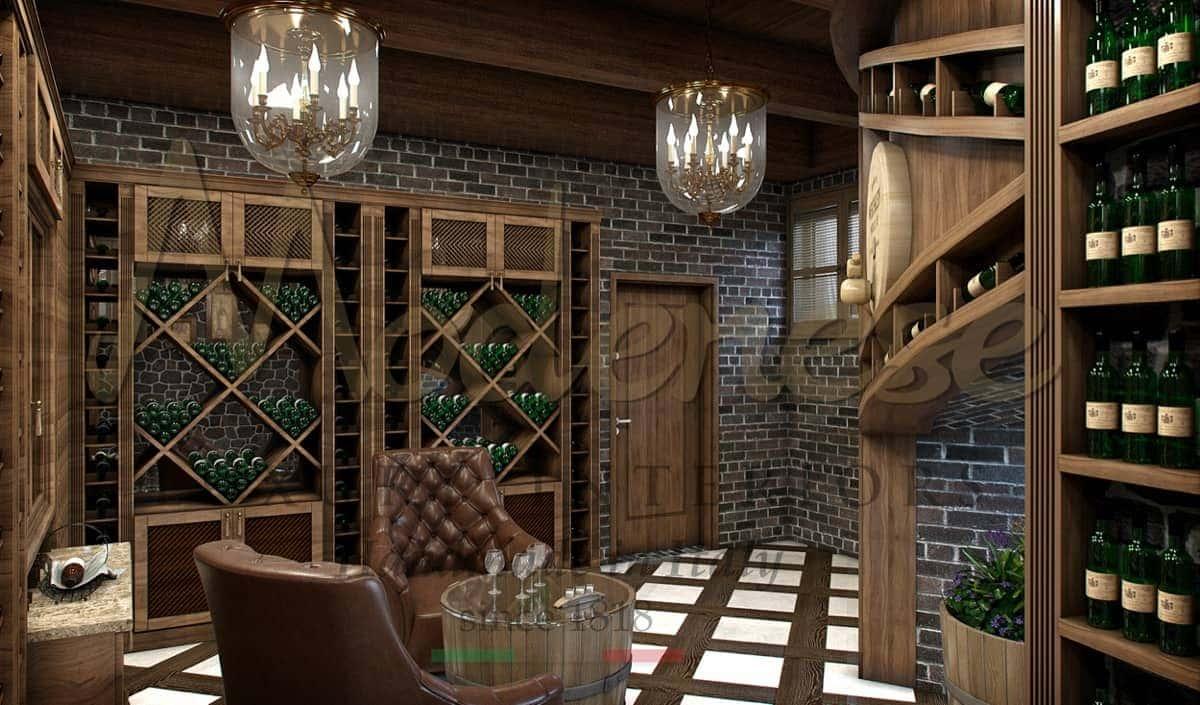 Премиальное качество мебели на заказ. Винный погреб в итальянском роскошном стиле от дизайнеров из Италии. Мебель из дерева и разработка от Modenese Luxury Interiors.