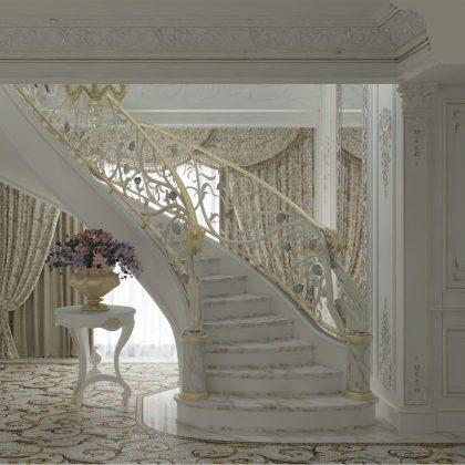 Élégant escalier classique fabriqué en Italie pour un projet de luxe à Moscou. Meilleure société de design d'intérieur. Meilleure production de meubles classiques traditionnels faits à la main.