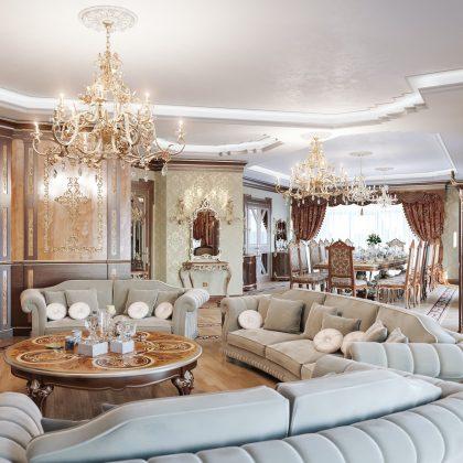 Intérieurs élégants, design unique de salon classique pour des palais et villas royaux uniques. Matériaux haut de gamme et meubles de qualité supérieure fabriqués en Italie.