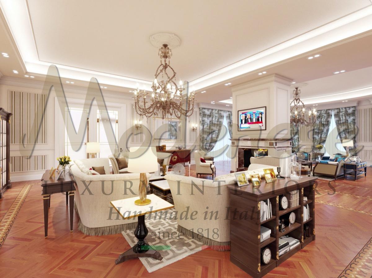 Villa classique de luxe, design royal et mobilier sur mesure traditionnel et intemporel. Artisanat italien, intérieurs de qualité supérieure. Meilleur service de design d'intérieur.