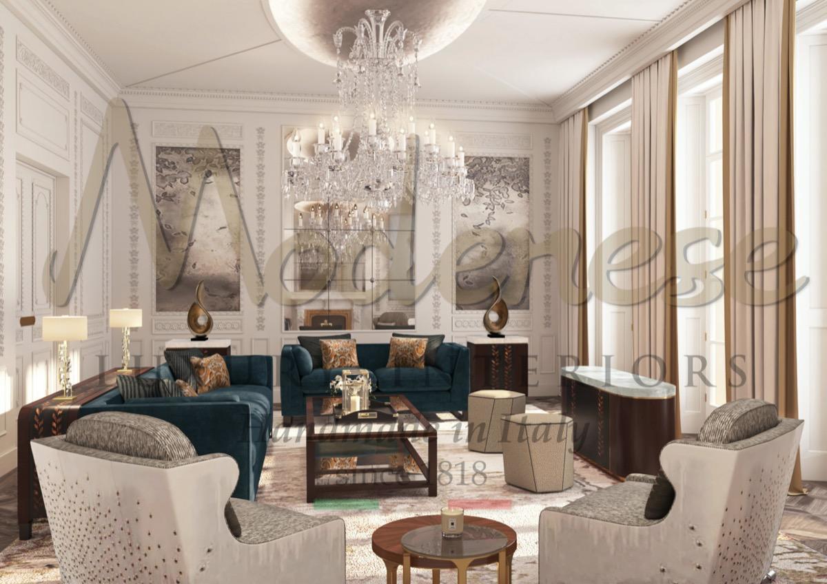 Exquisite classical furniture for exclusive living room design. High-end classical furniture design. Top interior design company in Florida. Superb living room design idea for spacious mansion.