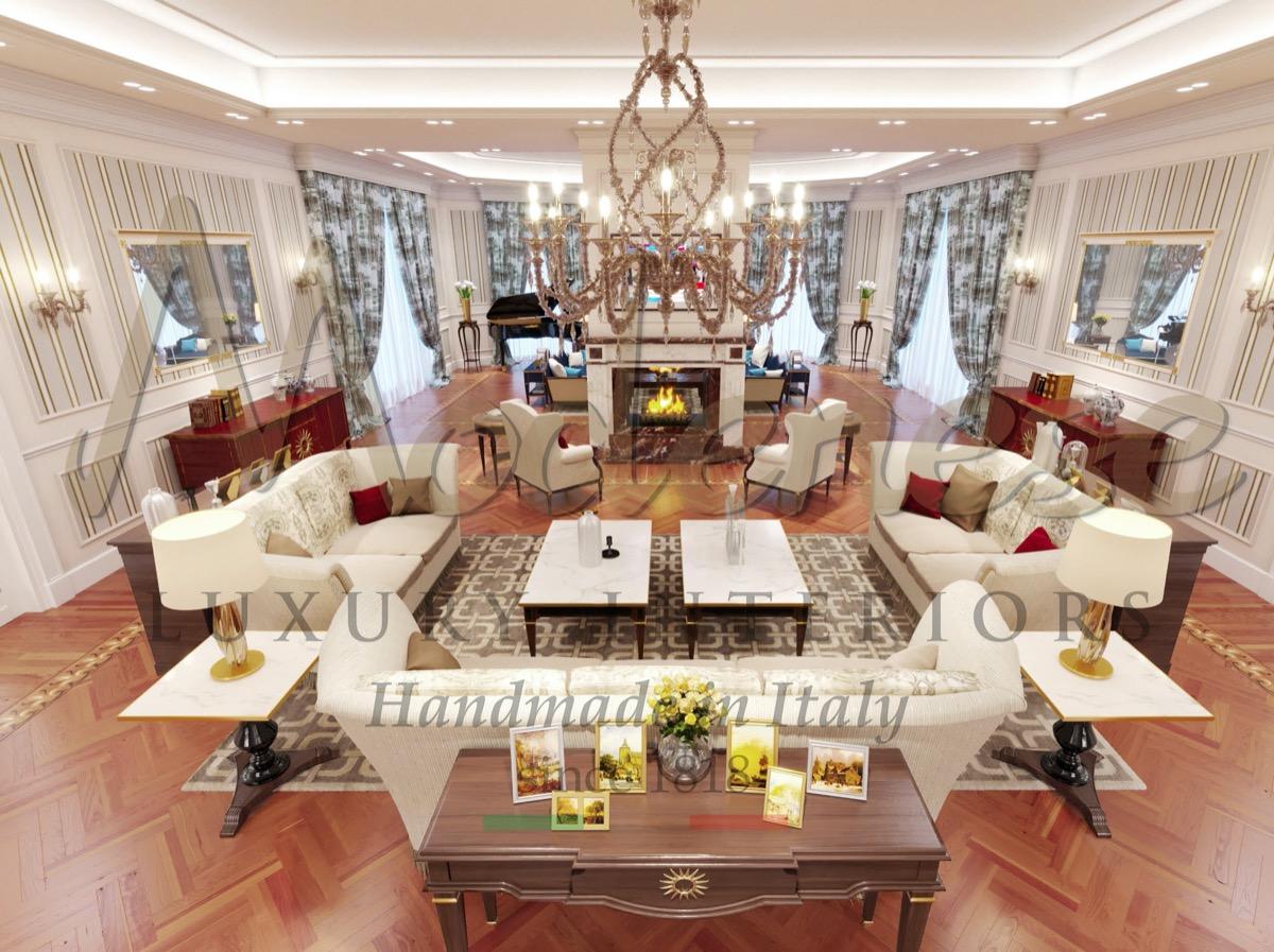Qualité haut de gamme, normes premium, conception de meubles de luxe fabriqués en Italie. Meubles traditionnels fabriqués à la main et meilleurs projets de conception de salons classiques de luxe.
