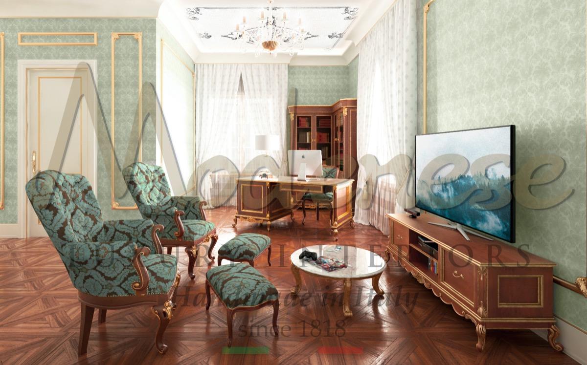 Элегантные интерьеры, уникальный дизайн офисов для уникальных королевских классических дворцов и вилл. Высококачественные материалы и мебель высшего качества, сделанная в Италии.